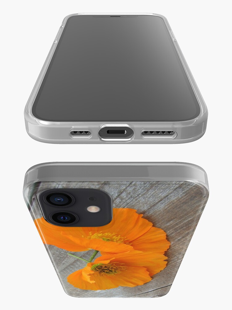 Alternate view of Orange flowers on a wooden table iPhone Case & Cover