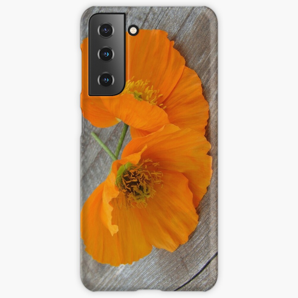 Orange flowers on a wooden table Case & Skin for Samsung Galaxy