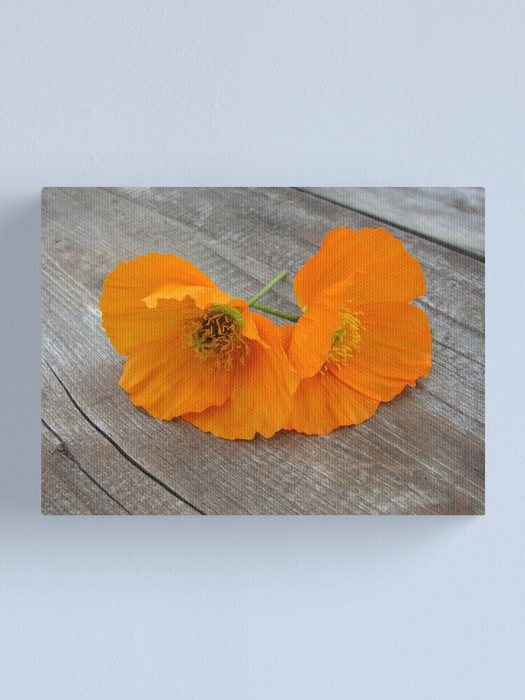 Alternate view of Orange flowers on a wooden table Canvas Print