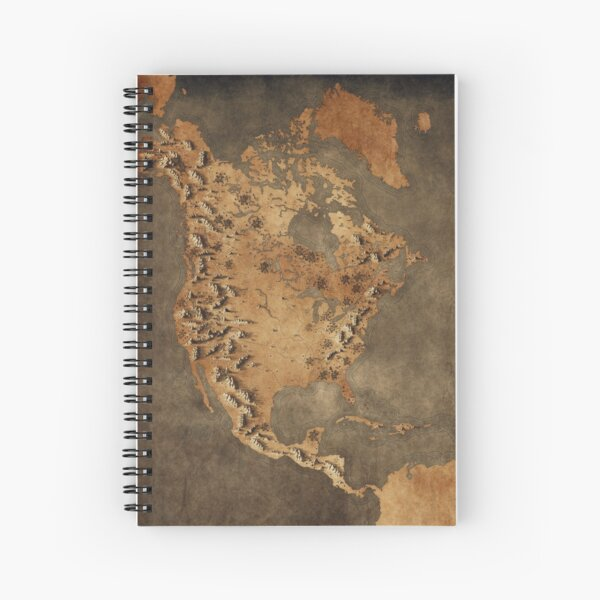 North America in a Fantasy Style - No Labels Spiral Notebook