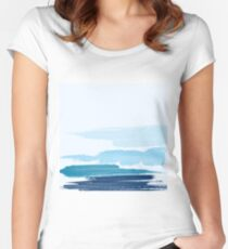 Water Brush Stroke Women's Fitted Scoop T-Shirt