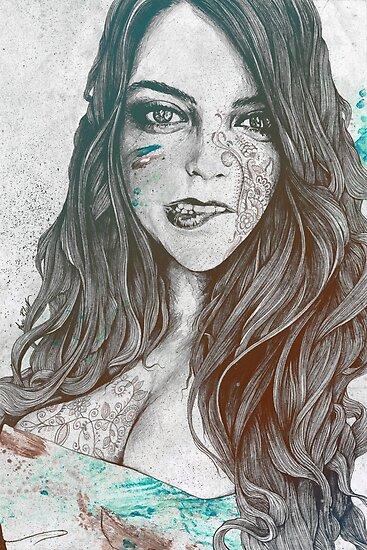 U-Turn: Regenbogen (Mandala tätowierte Frau, Zeichnungsporträt) von kiss-my-art