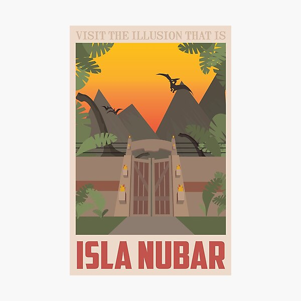Isla Nubar - Vintage Travel Poster - Jurassic Park Photographic Print