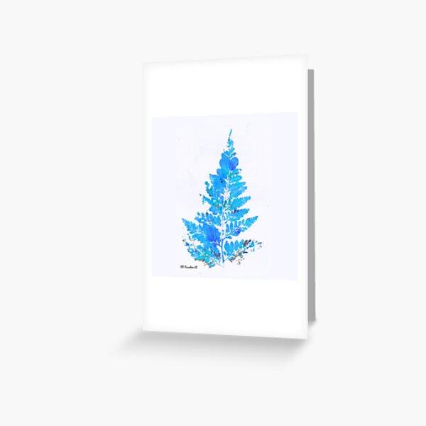 Blue Fern Leaf  Greeting Card