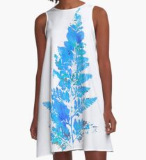 Blue Fern Leaf A-Line Dress