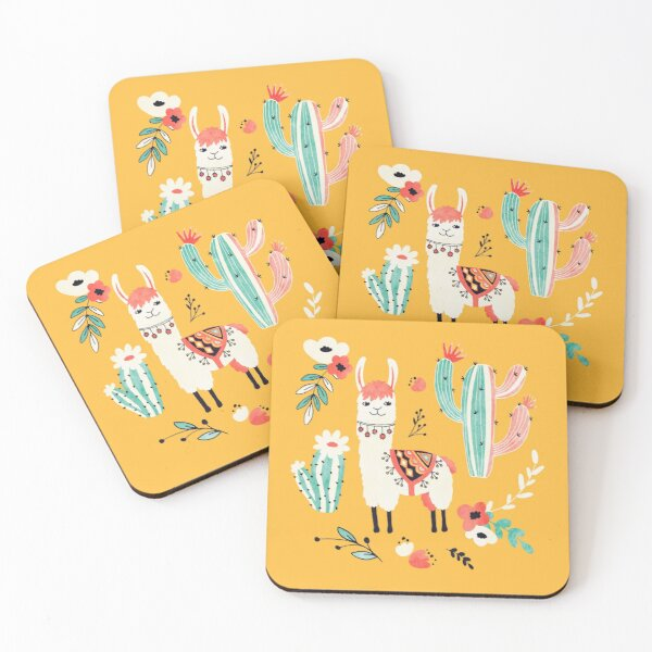 White Llama with flowers Coasters (Set of 4)