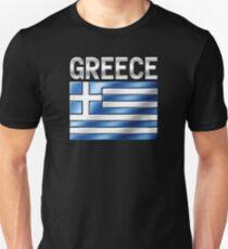 Greece - Greek Flag & Text - Metallic T-Shirt