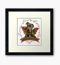 Pitbull Puppy Butterfly Framed Print