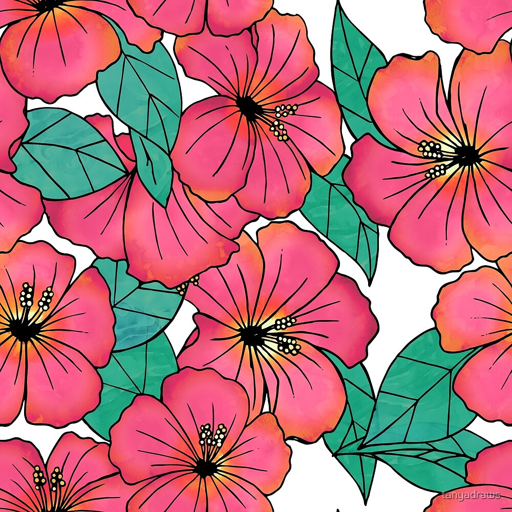 Tropical Floral Pink Hibiscus Pattern by tanyadraws