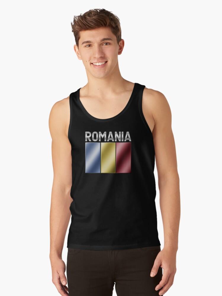 Romania - Romanian Flag & Text - Metallic Tank Top Front