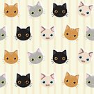 Kittens & Stripes Pattern by tanyadraws