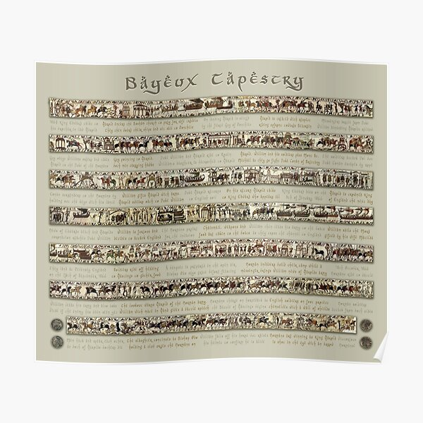 Bayeux Tapestry Full Scenes On Beige Background Poster
