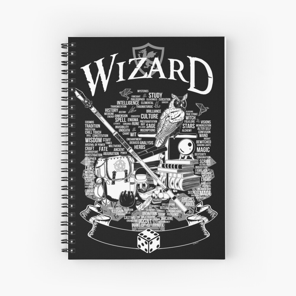 RPG Class Series: Wizard - White Version Spiral Notebook