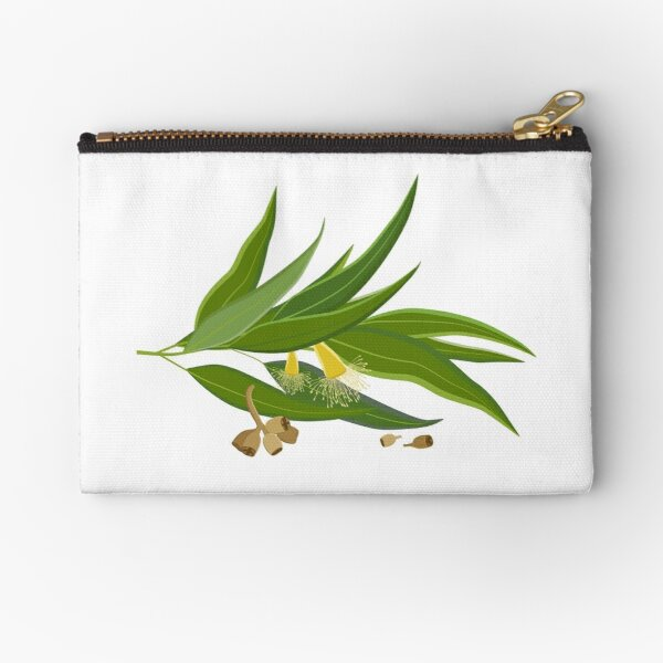 Eucalyptus twig with leaves, flowers and seeds Zipper Pouch