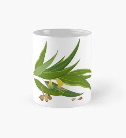 Eucalyptus twig with leaves, flowers and seeds Mug