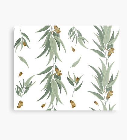 Floral pattern of eucalyptus leaves and seeds Metal Print