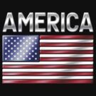 America - American Flag & Text - Metallic by graphix