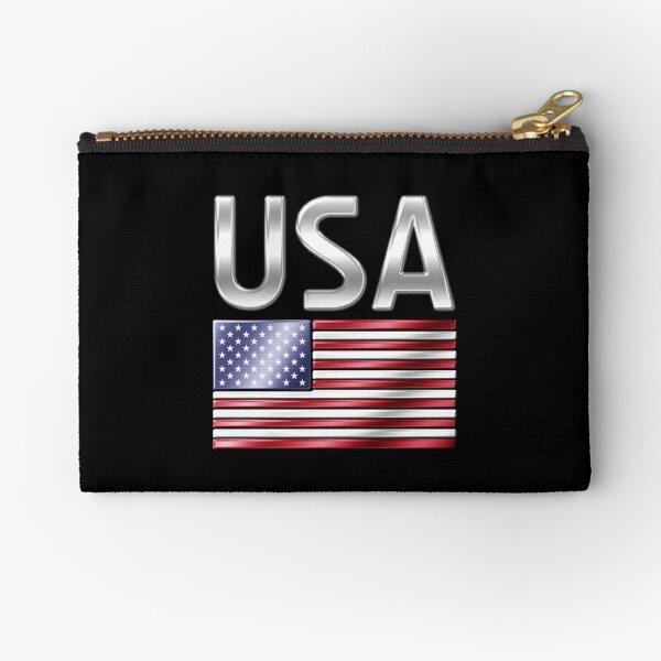 USA - American Flag & Text - Metallic Zipper Pouch