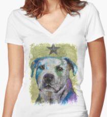 Pit Bull Terrier Women's Fitted V-Neck T-Shirt