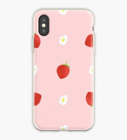 Seamless Background of Strawberries with Leaves and Flowers iPhone Case