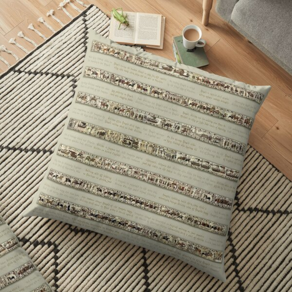 Bayeux Tapestry Full Scenes On Beige Background Floor Pillow