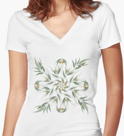 Circular pattern of eucalyptus leaves and seeds Fitted V-Neck T-Shirt