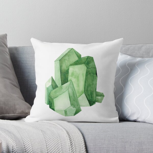 Watercolor Emerald Cluster Throw Pillow