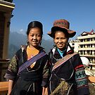 Black H'mong tribeswomen in Sapa, North Vietnam by Bev Pascoe