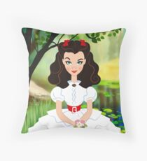 White Scarlett dress Throw Pillow