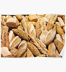 Bread baking rolls and croissants Poster