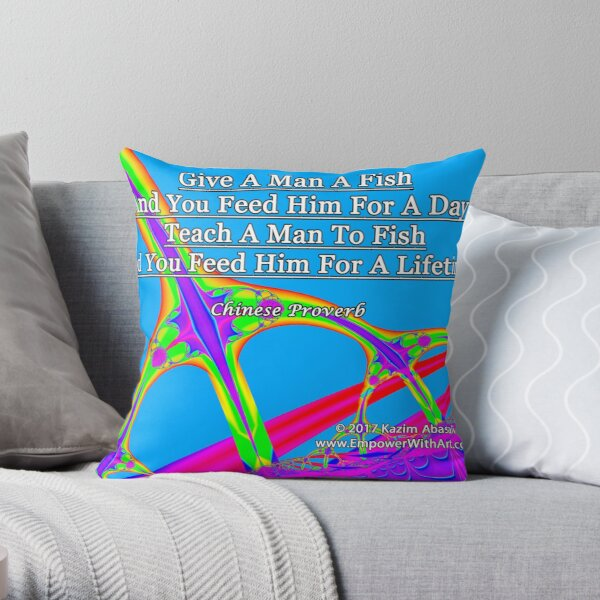 Give A Man A Fish Throw Pillow