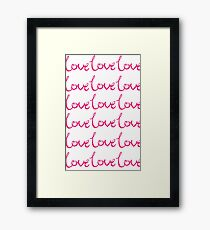 Collections Pink Love Heart Romance Happy Couple Girly Text, Typography - Pink Text and White Background Framed Print
