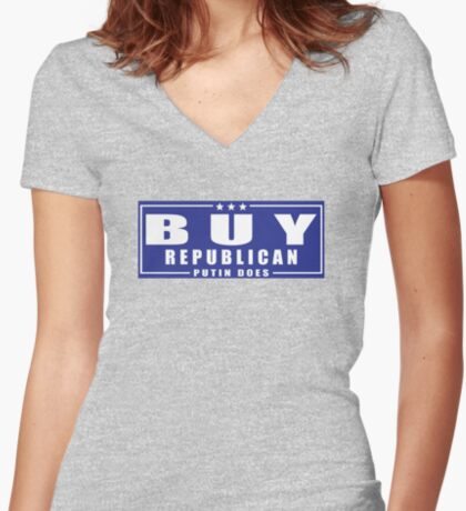 Buy Republican Putin Does Women's Fitted V-Neck T-Shirt
