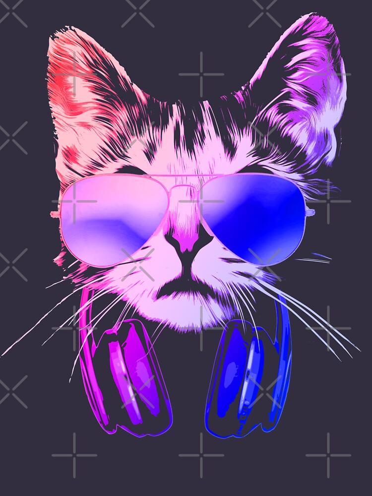 Cool Neon Dj Cat T Shirt By Idaspark Redbubble