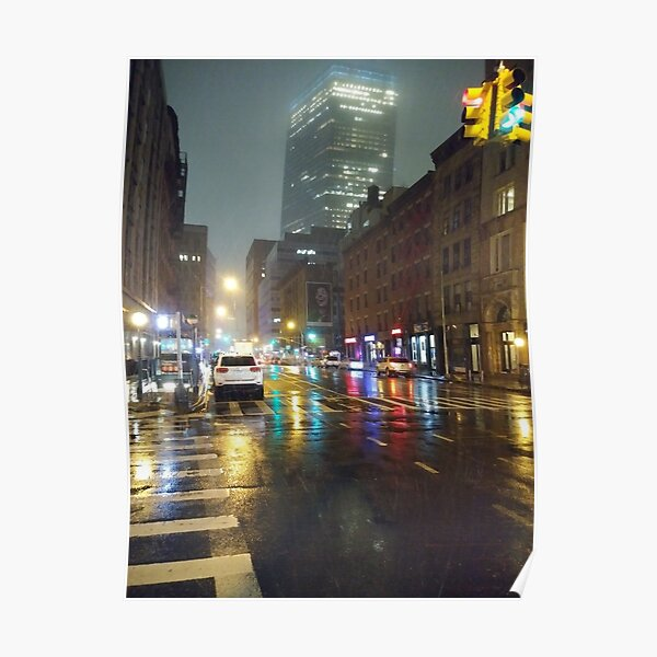 New York, Manhattan, Brooklyn, New York City, architecture, street, building, tree, car, pedestrians, day, night, nightlight, house, condominium,  Poster