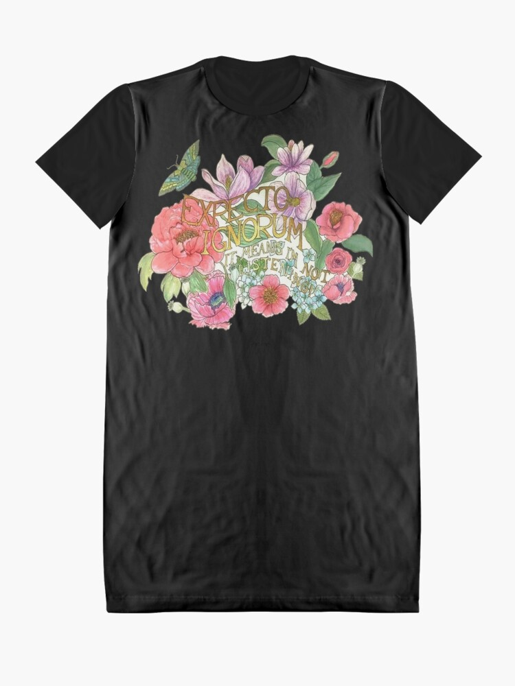 Alternate view of Spring Flowers and butterfly in watercolor with latin quote Graphic T-Shirt Dress
