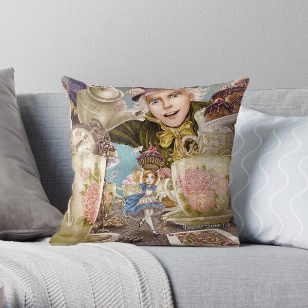 Alice Mad Tea Party Throw Pillow
