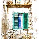 Window With Green Shutters Surmounted By Votive Shrine by Giuseppe Cocco