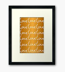 Collections Gold Love Heart Romance Happy Couple Girly Text, Typography - White Text and Gold Background Framed Print