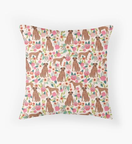 Rhodesian Ridgeback floral dog breed gifts pure breed must have dog pattern Throw Pillow