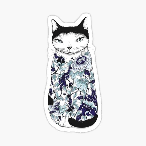 Cat in Blue Peony Tattoo Sticker