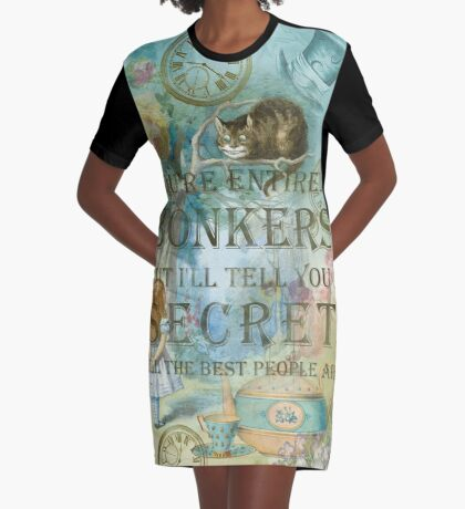 Wonderland - Bonkers Quote Vestido camiseta