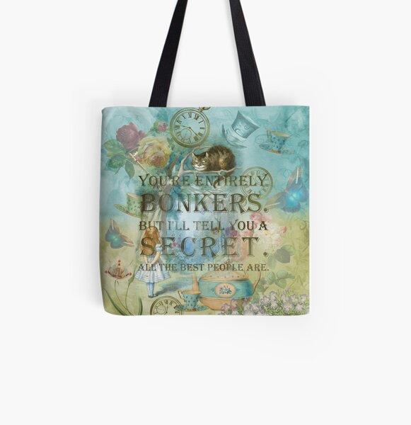 Wonderland - Bonkers Quote- Alice in Wonderland All Over Print Tote Bag
