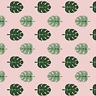 Tropical leaves Monstera deliciosa green and pink #monstera #tropical #leaves #floral #homedecor #apparel  by susycosta