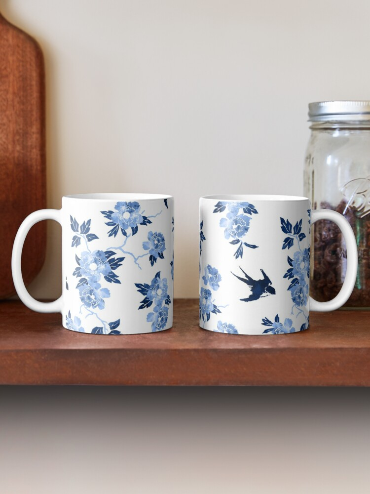 Alternate view of Oriental peonies in sapphire blue Mug