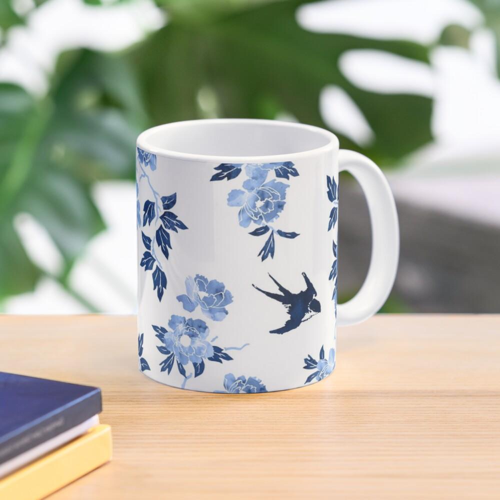 Oriental peonies in sapphire blue Mug