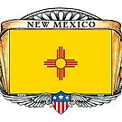 New Mexico Art Deco Design with Flag by Cleave