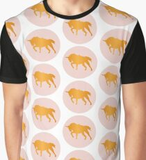 Icon Silhouette Unicorn Horse Gold and Pink Graphic T-Shirt