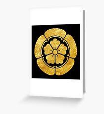 Oda Mon Japanese samurai clan faux gold on black Greeting Card