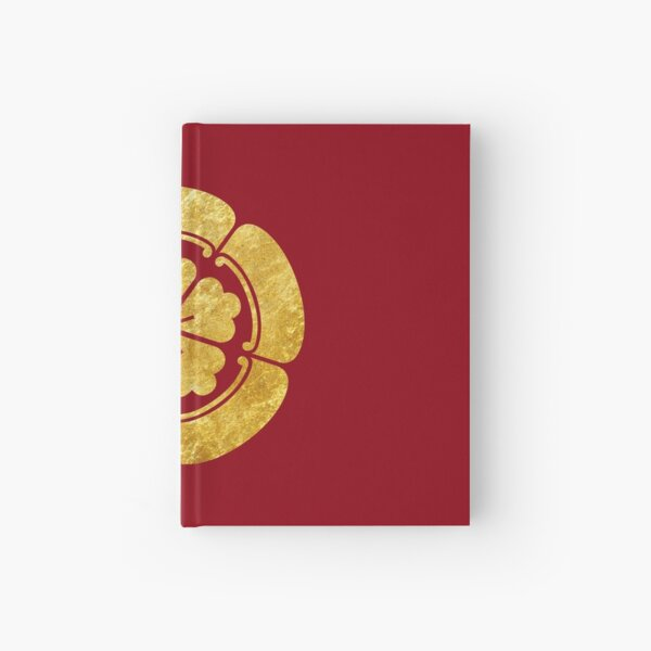 Oda Mon Japanese samurai clan faux gold on black Hardcover Journal